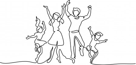 Continuous one line drawing. Happy family mother and father dancing with children. Vector illustration. Concept for logo, card, banner, poster, flyer